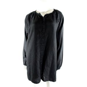 Eileen Fisher Black Tunic Blouse Top Irish Linen
